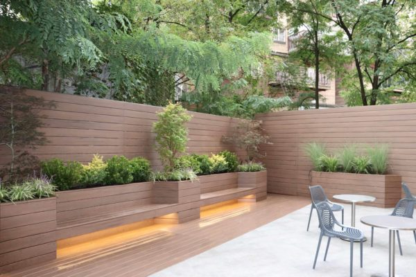 Brooklyn_nyc_courtyard_landscape_trex_composite_planters_green_roof_design_trees_decking_custom_woodwork_nursing_home_luxury