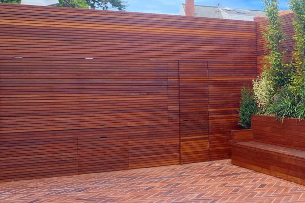 tier ii _private_ residential_backyard_gardens_design_landscapoig_IPE_woodwork_build_courtyard_brooklyn_nyc_landscape_fireplace_trees_kitchen_outdoor_kitchen_stainless_steel_