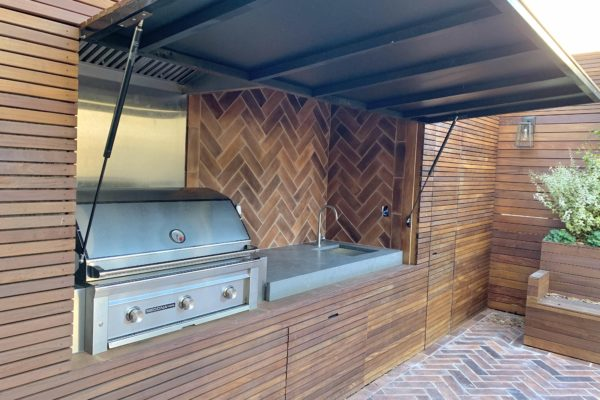 tier ii _private_ residential_backyard_gardens_design_landscapoig_brooklyn_nyc_landscape_fireplace_trees_kitchen_outdoor_kitchen_stainless_steel_unique_beautiful_extraordinary_flooring_custom