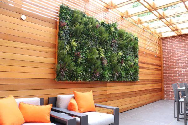 tier_ii_landscape_design_courtyard_pergola_cedar_cvg_custom_woodwork_landscaping_outdoors_green_wall_restoration_hardware_furniture_high_end_residential