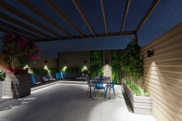 Tier_ii_landscape_design_build_maintain_roofdeck_landscaping_custom_high_end_new_york_city_brooklyn_wood_pergola_furniture_night_view_urban