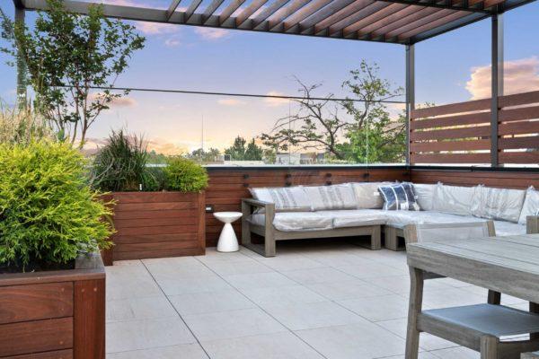Custom IPE planters and sofa