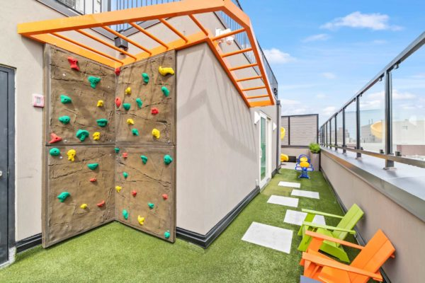 Kids rockwall climbing, and monkey bar
