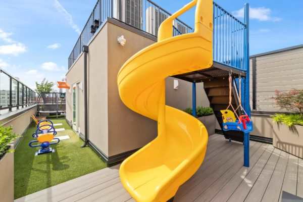 Kids slide, infant swing, and see saw