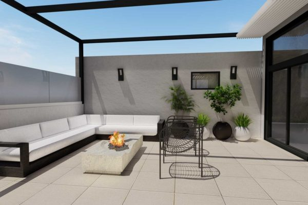 Lounging area, day shot, with open roof