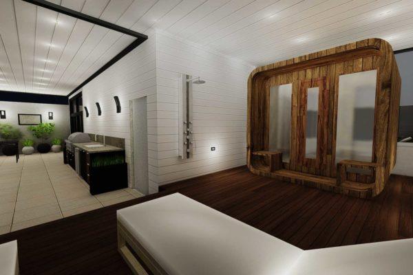 Night shot of sauna, closed roof