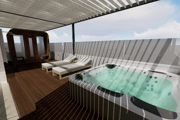 Jacuzzi, with open roof, day shot