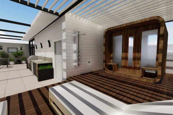 Day shot of sauna, open roof