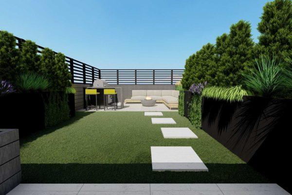 Artificial turf grass, custom planters, day shot