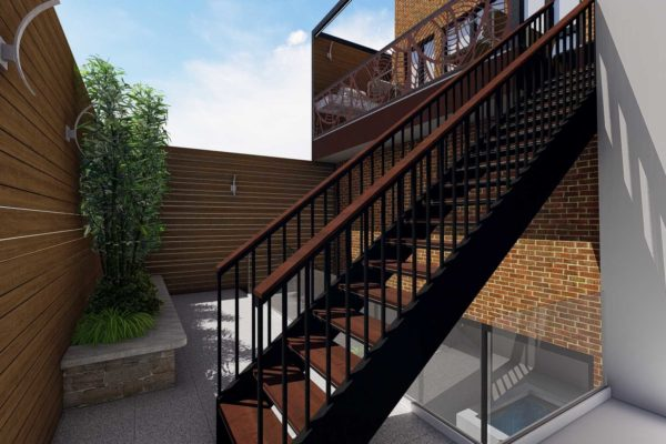 Staircase, glass railing, and privacy fencing