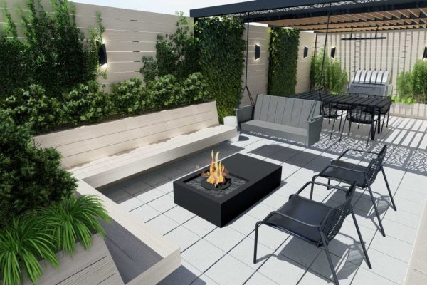 Custom bench planters, fire pit table, day shot