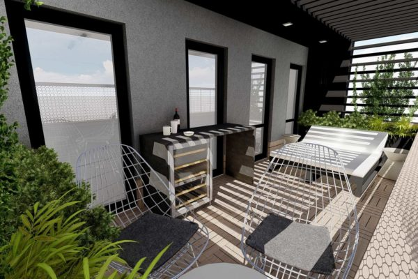 Balcony, side table, lounge chairs, sun bed, and pergola