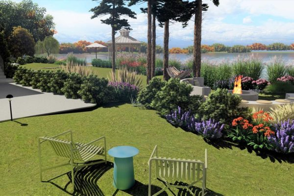 Lounge chairs and garden