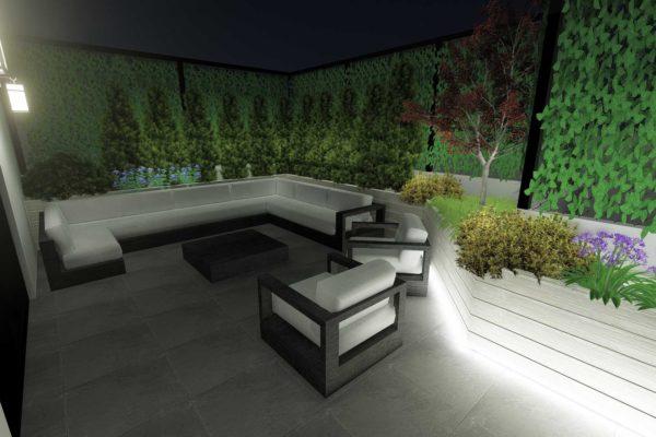 Sofa section, night shot