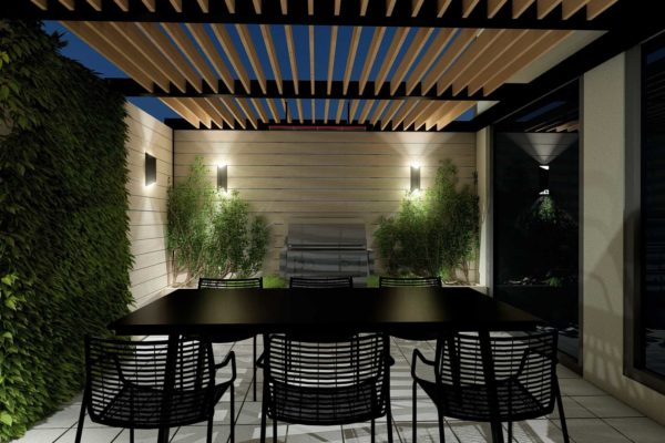 Dining area, outdoor, BBQ grill, pergola, night shot