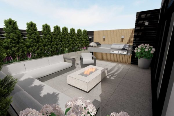 Sofa section, outdoor BBQ grill, fire pit table, day shot