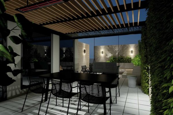 Pergola, table and chairs, night shot