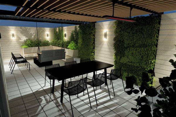 Dining area, pergola, night shot