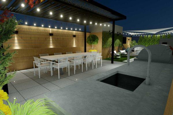Outdoor kitchen, dining area, night shot