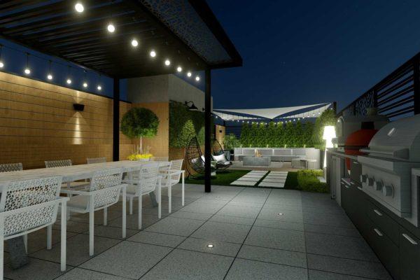 Dining area, and pergola, night shot