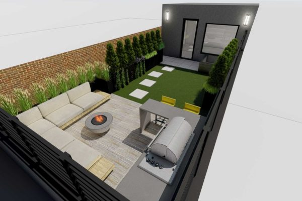 Sofa section, outdoor BBQ grill, fire pit, day shot