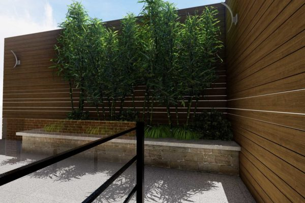 IPE privacy fencing, and plants