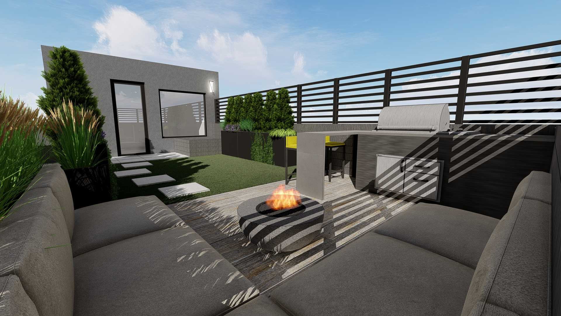 Sofa section, fire pit, outdoor BBQ grill, artificial turf grass