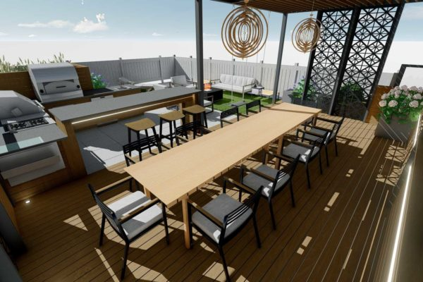Dining area, outdoor kitchen