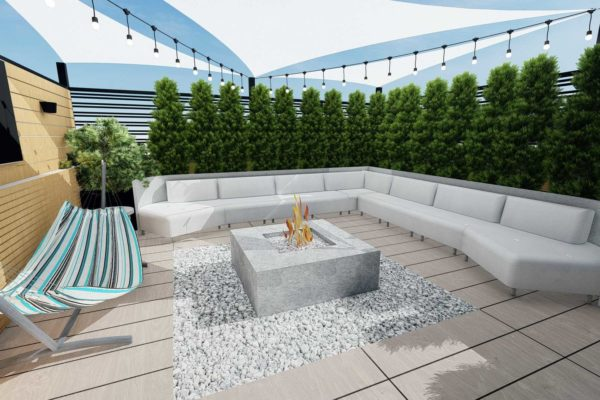 Sofa section, and fire pit