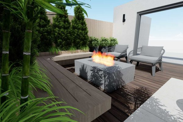 Fire pit, and custom bench