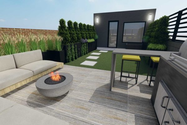 Outdoor BBQ grill, bar table, bar stools, and fire pit