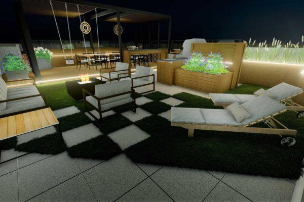 Sun beds, lounging area, night shot