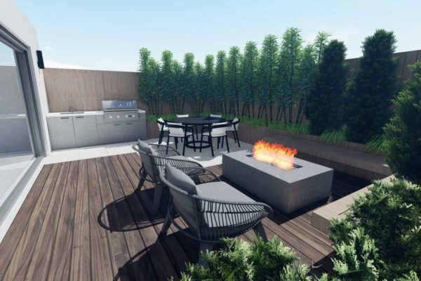 Lounge chairs, and fire pit
