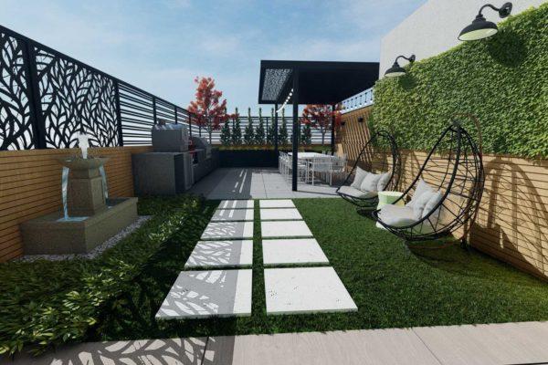 Pavers, artificial turf and custom railings