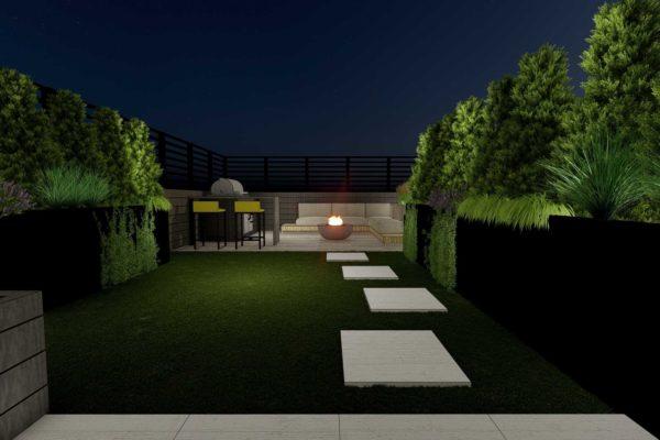 Artificial turf grass, pavers, plants, night shot