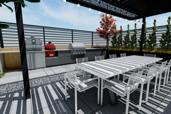 Dining area, and outdoor kitchen