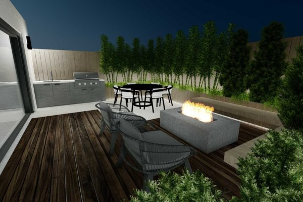 Outdoor BBQ grill, Fire pit, night shot