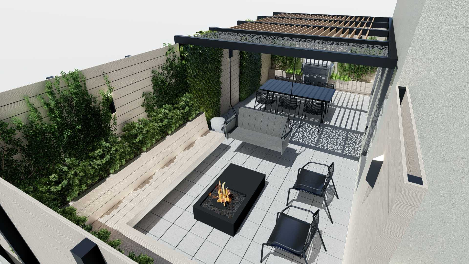Top view, adult swing, pergola and dining area, day shot