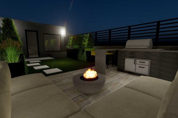 Sofa section, outdoor BBQ grill, fire pit, night shot