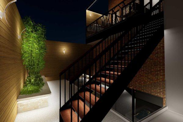 Staircase, custom planters, night shot