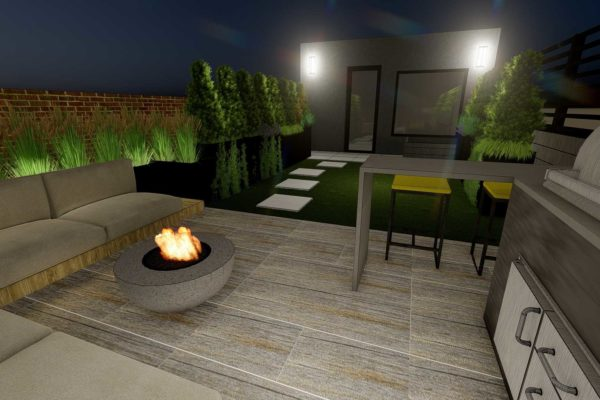 Outdoor BBQ grill, bar table, and bar stools, night shot