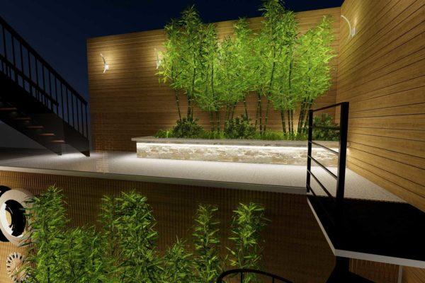 Second level, custom planters, night shot