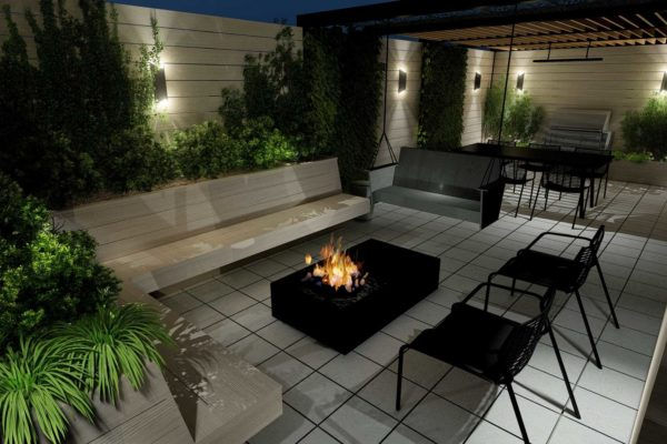 Fire pit table, lounge chairs, custom bench planters, night shot