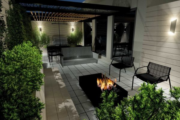 Fire pit table, custom bench planters, night shot