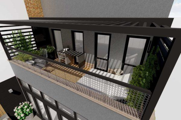 Balcony, sun bed, and pergola